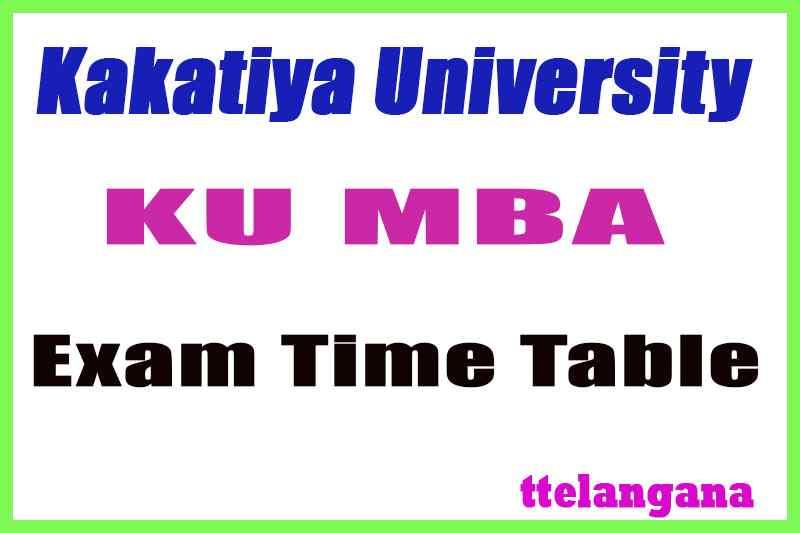 Kakatiya University MBA 3rd Sem Exam  Time Table  Download