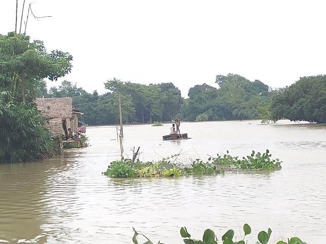 मंझिला टोल के समीप टूटने वाला था जमींदारी बांध, ग्रामीणों ने बचाया
