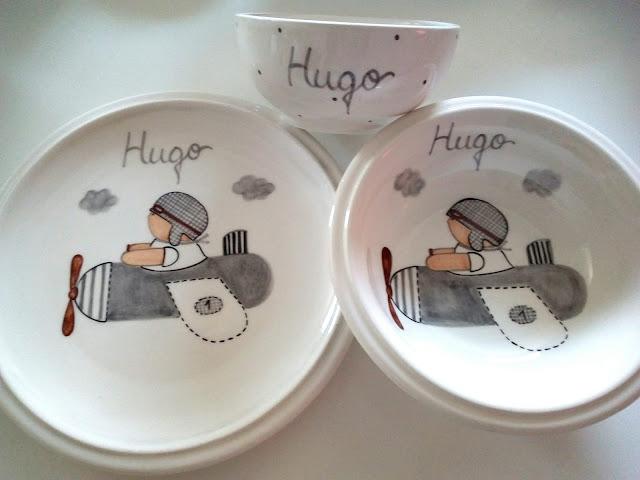 Vajillas infantiles pintadas a mano, cerámica artesanal personalizada