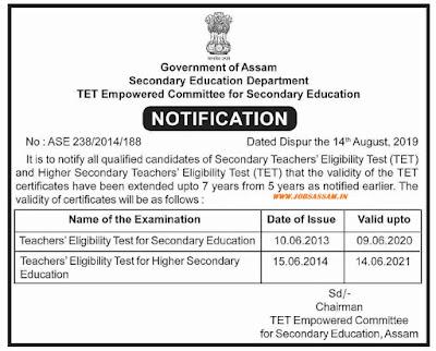 Assam Secondary TET Notification 2019