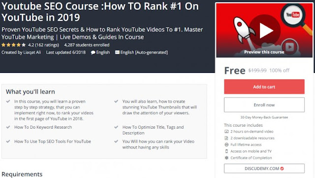 [100% Off] Youtube SEO Course :How TO Rank #1 On YouTube in 2019| Worth 199,99$