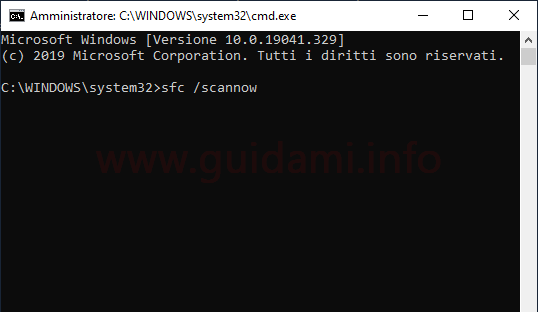 Windows 10 Prompt dei comandi sfc scannow