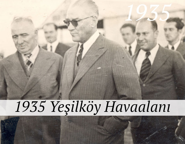 1935 Atatürk Yeşilköy Havaalanında