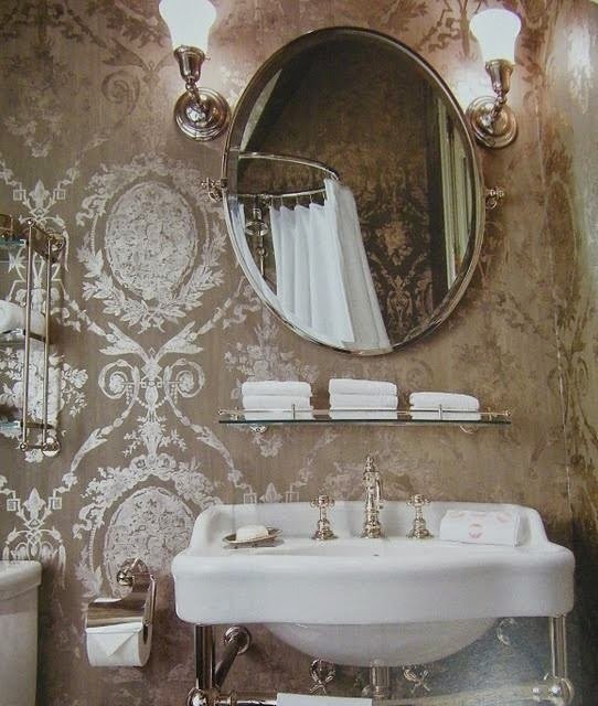 metallic wallpaper for half bath - photo #20