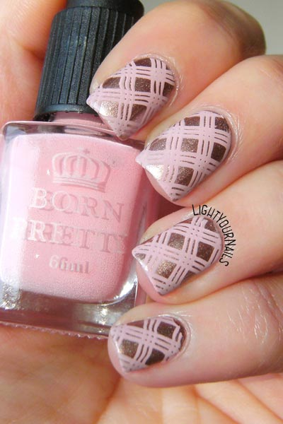 Pink plaid nail art light your nails pink plaid stamping nail art prinsesfo Choice Image