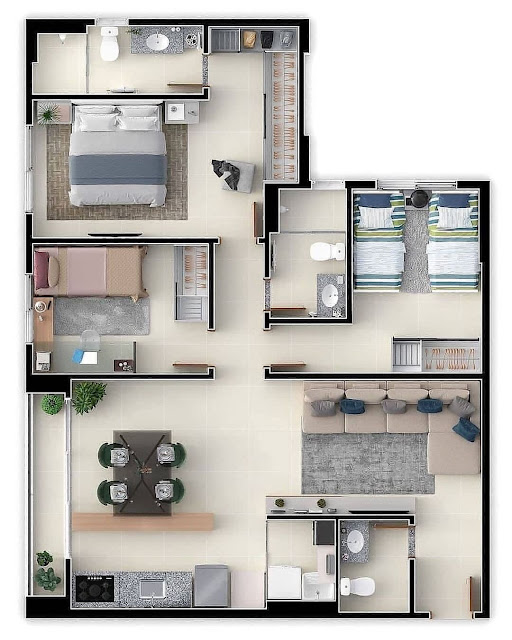 Denah Rumah Minimalis 3 Kamar dengan Bentuk L