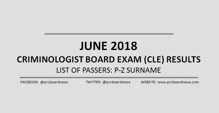 P-Z Passers: June 2018 Criminologist board exam result