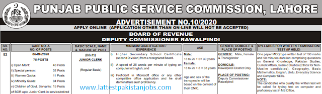 PPSC Junior Clerk Jobs 2020 Apply Online Application