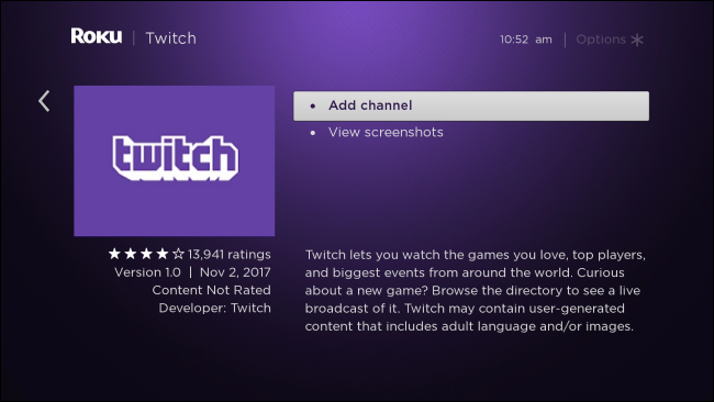 توقف تطبيق Roku Official Twitch App