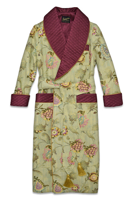 mens floral silk dressing gown quilted robe paisley smoking jacket cotton silk