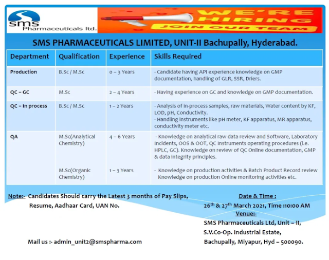 SMS Pharma | Walk-in interview for Production/QC/QA on 26& 27th Mar 2021