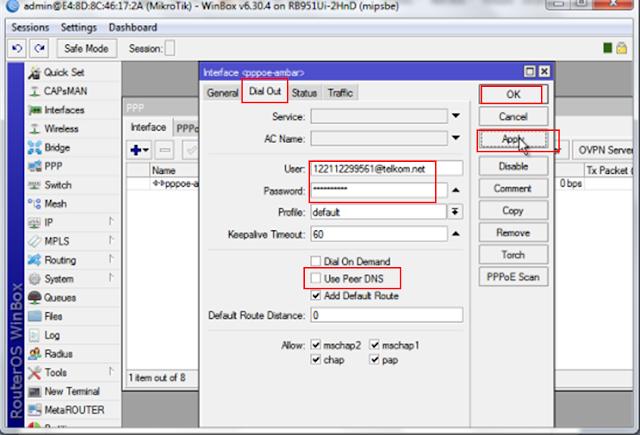 Konfigurasi dial Up PPPoE indihome dari Mikrotik