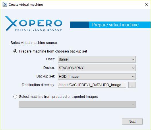Wskazanie kopii, która ma zostać uruchomiona jako system wirtualny