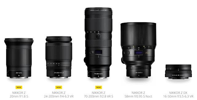Screengrab of Nikon mirrorless S lenses