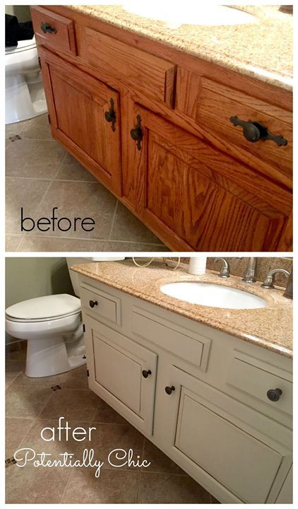 Elegant What a difference a day and paint makes Finished this bathroom vanity makeover today General Finishes Antique White Milk Paint with Van Dyke Brown Glaze