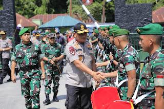 Kapoldasu dan Pangdam 1 BB disambut Personil TNI – POLRI