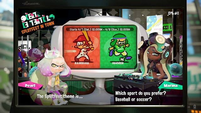 Splatoon 2 Splatfest which sport do you prefer baseball or soccer Pearl Marina
