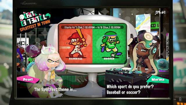 Splatoon 2 Splatfest which sport do you prefer baseball or soccer Pearl Marina