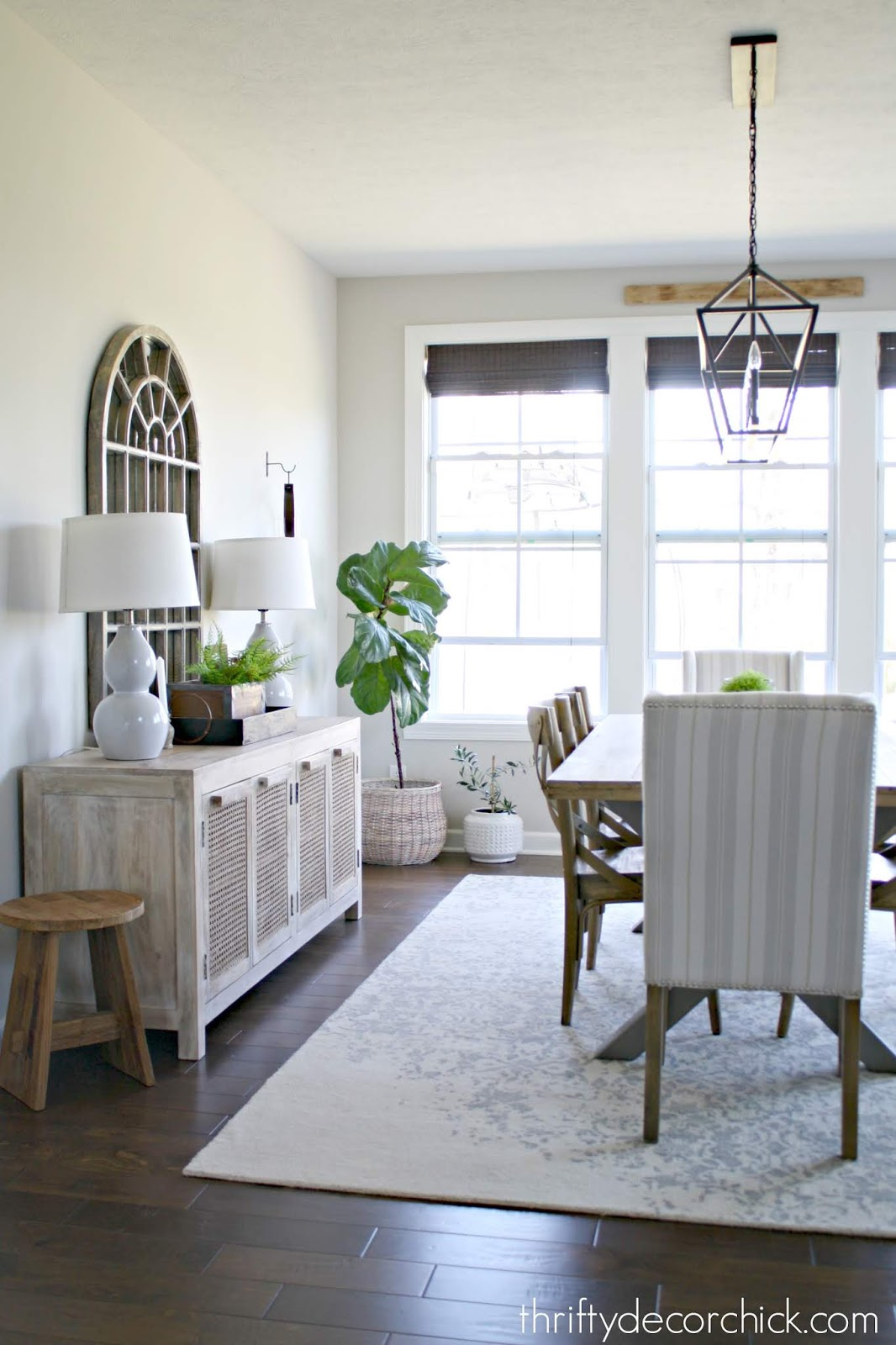 Dining room with natural cane buffet