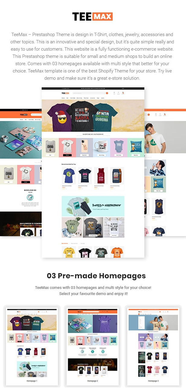 TeeMax Fashion & POD T-Shirt Store Prestashop Theme