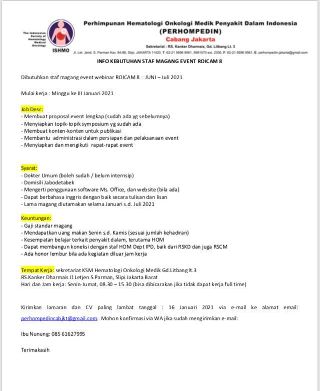 Info Kebutuhan Staf Magang Event ROICAM 8 ---PERHOMPEDIN Cabang Jakarta