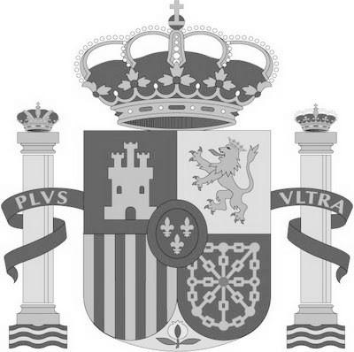 Dibujo del escudo de españa en colores grises para niños