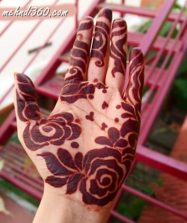 Rose Day Mehndi Designs