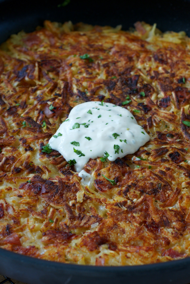 Crispy on the outside and tender on the inside, these Ham and Swiss Hash Browns with Rosemary-Apple Yogurt boast lots of thin-sliced ham, melted swiss cheese, and an irresistible dollup of rosemary, apple, and mustard seasoned yogurt.  They are perfect for holidays!