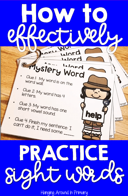 Learning to read sight words or word wall words are an important part of reading. In order to learn to read kindergarten, first grade and second-grade students need lots of opportunities to practice sight words. This blog post shares ways to practice word wall words that are fun for students but effective for learning sight words. Click the pin to find out more about Mystery Word and the other ways I suggest to practice sight words.