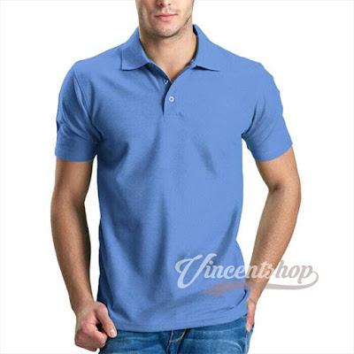 Kaos Polo Shirt Biru Muda