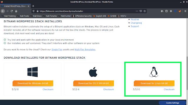 WordPress on Bitnami's Website for Linux
