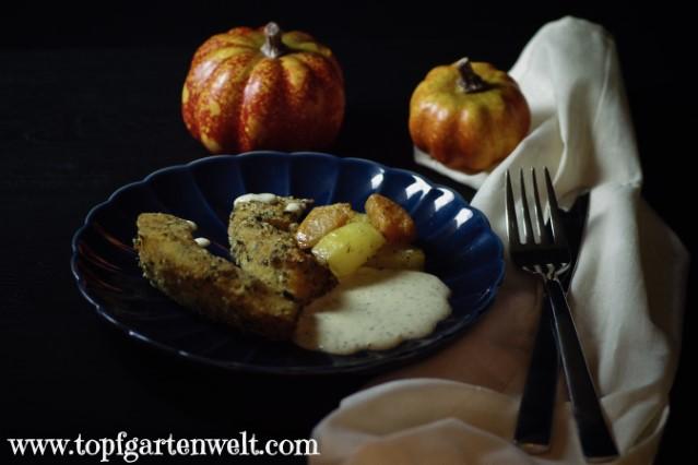 Gebackener Kürbis mit Kürbiskernen, Kartoffeln und Sauce Tartare - Foodblog Topfgartenwelt