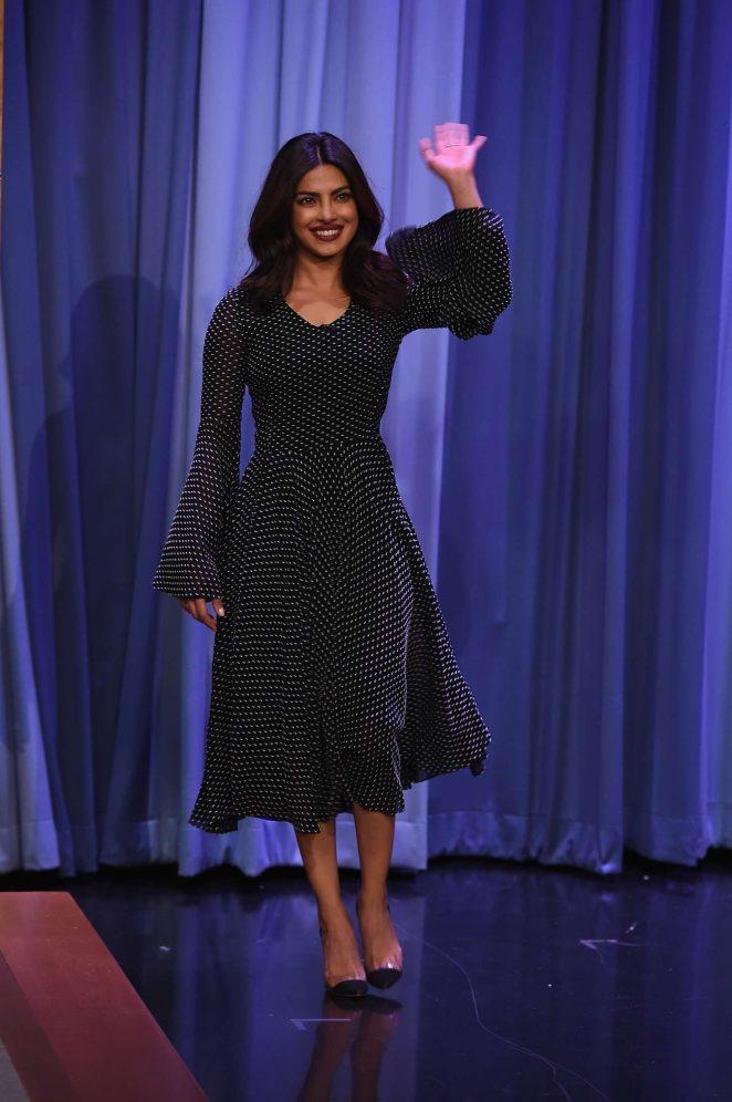 Priyanka Chopra In Black At Hollywood TV Show