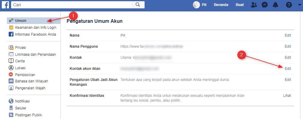 Cara Mengubah Email Facebook di Komputer