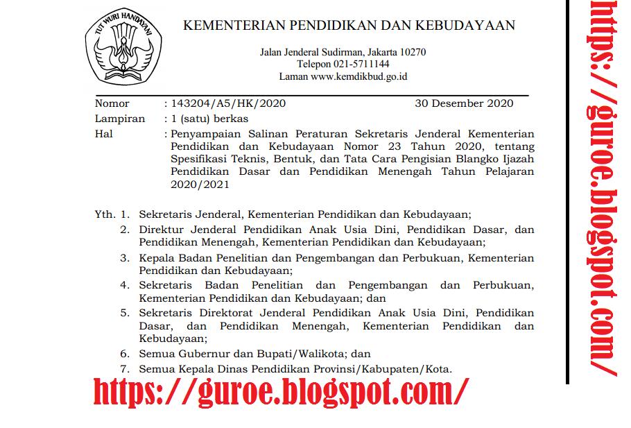 Unduh - Download Persesjen Kemdikbud (Kemendikbud) Nomor 23 Tahun 2020