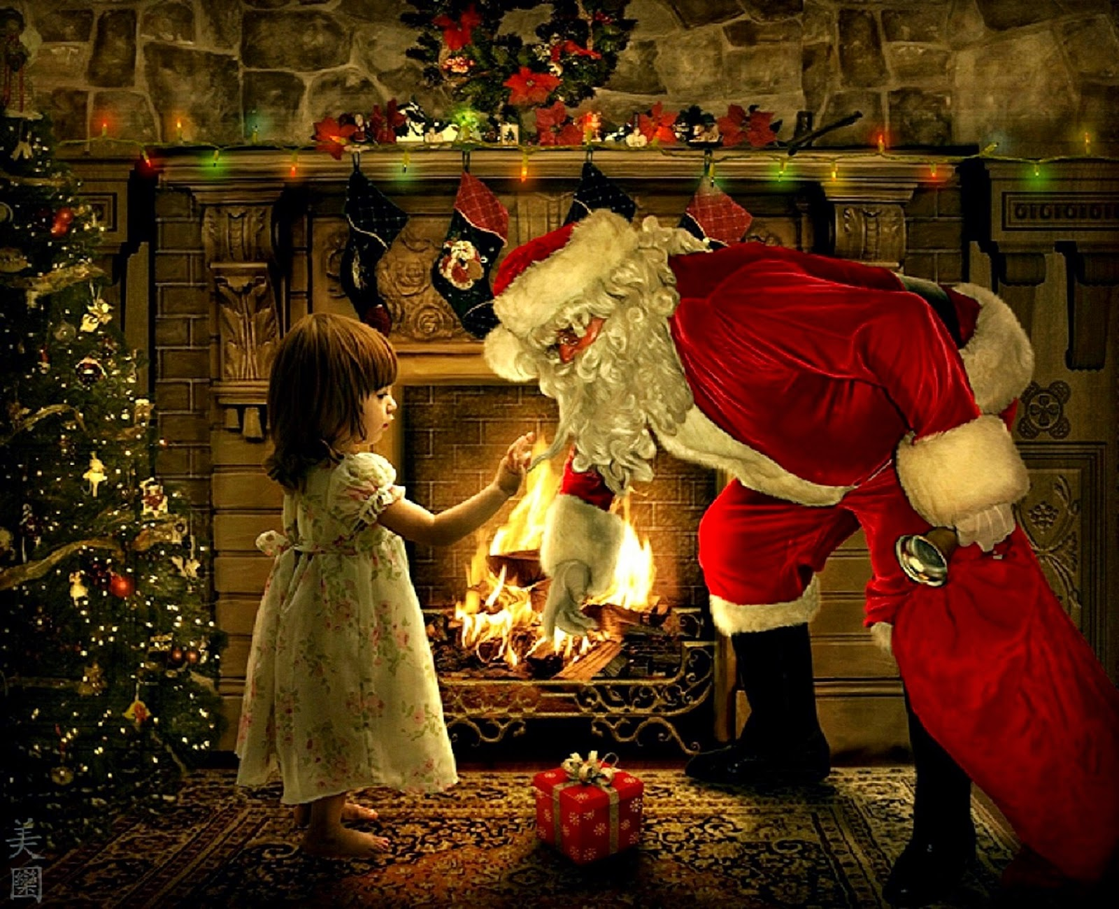 santa presents christmas gifts to girl kid image - Santa Claus Presents
