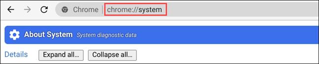 اكتب صفحة نظام الكروم في شريط URL