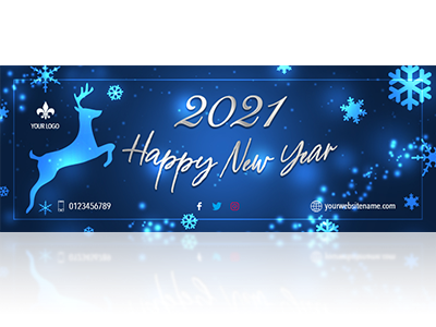 Blue new year facebook cover psd