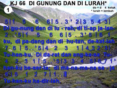 Lirik dan Not Kidung Jemaat 66 Di Gunung Dan Di Lurah