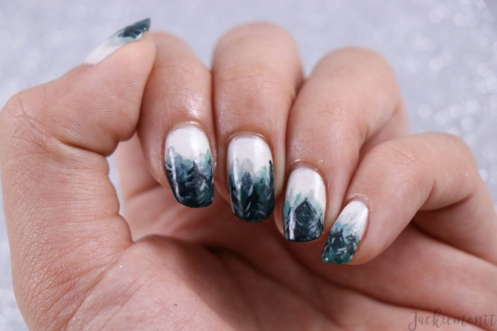 Jackiemontt Foggy Forest Winter Ombre Nail Art