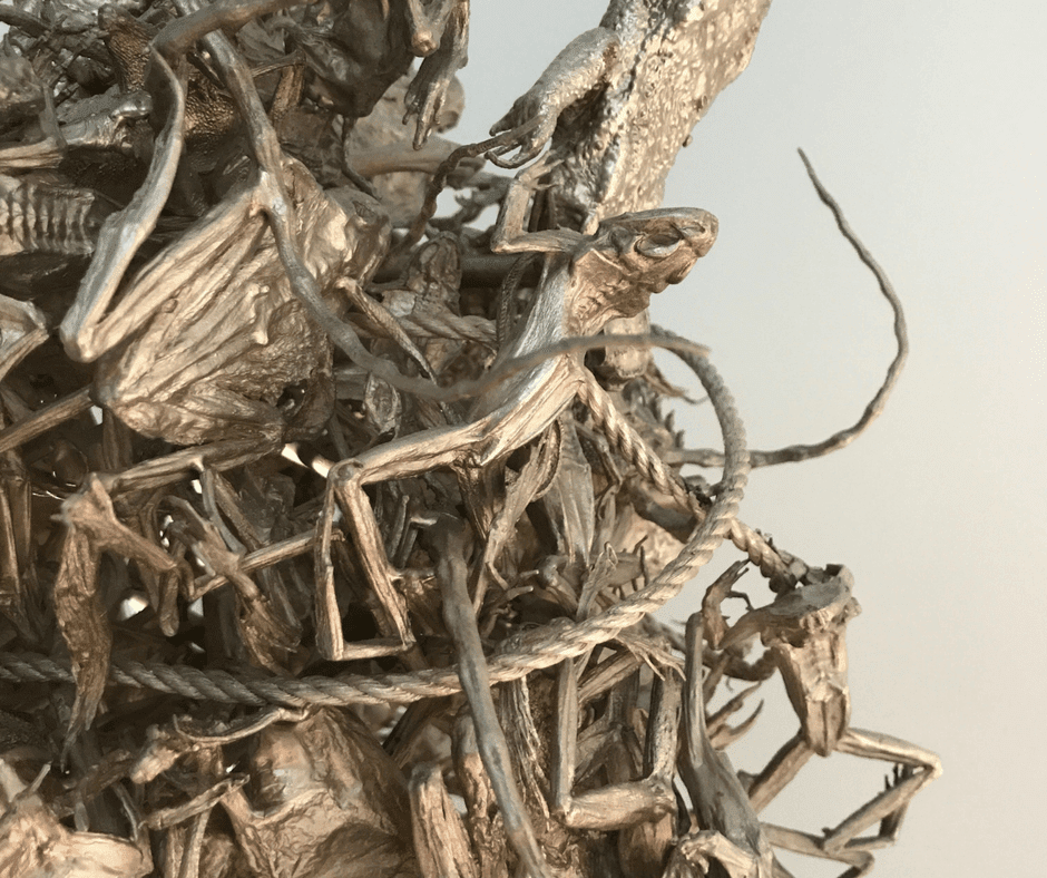 Close up of metal art in Saatchi Gallery, it is made of bugs