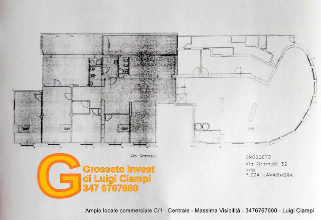 planimetria locale commerciale Grosseto Piazza Lamarmora angolo Via Gramsci