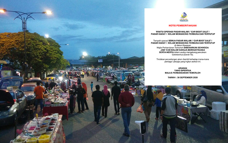 Carboot Sale, Pasar Karat, Pasar Malam Di Temerloh Dihadkan Sehingga Jam 10 Malam Sahaja
