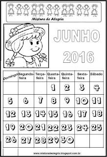 Calendário de junho 2016 para colorir