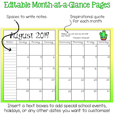 monthly calendar option for student planner Terri's Teaching Treasures