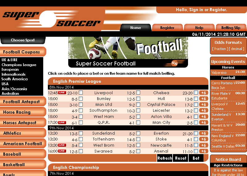Super Soccer Sportsbook Screen