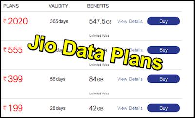 Jio Data Plans