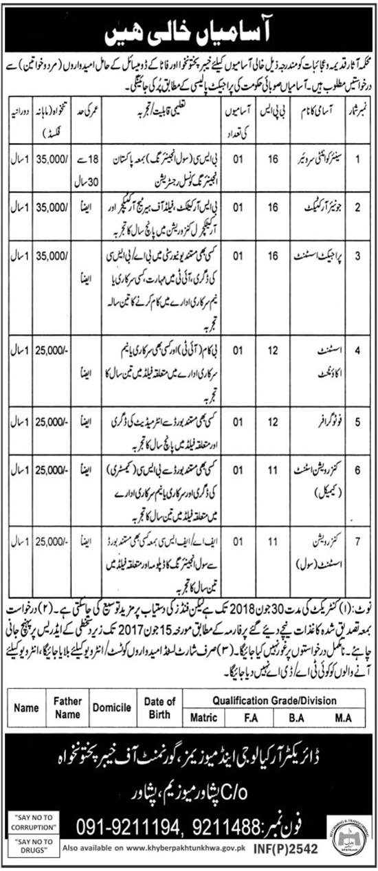 Jobs in Archeology and Museum Department Peshawar KPK 27 May 2017