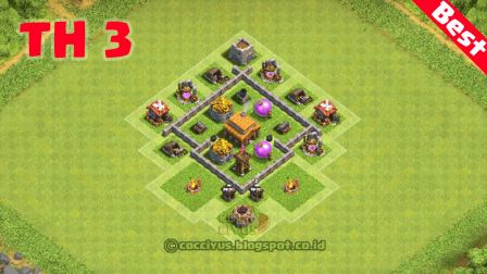 formasi clash of clans town hall 3 base hybrid