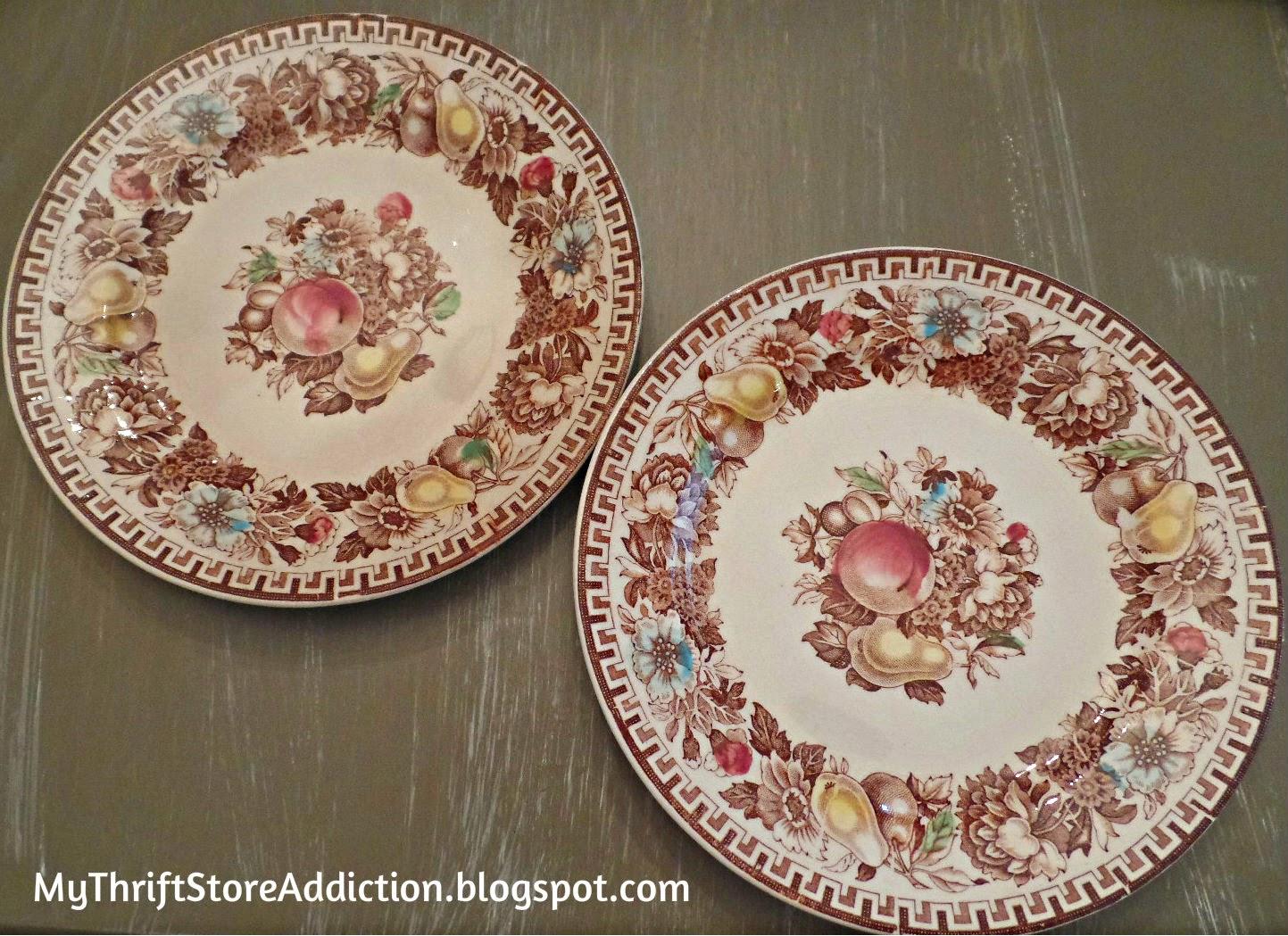 Vintage brown transferware plates